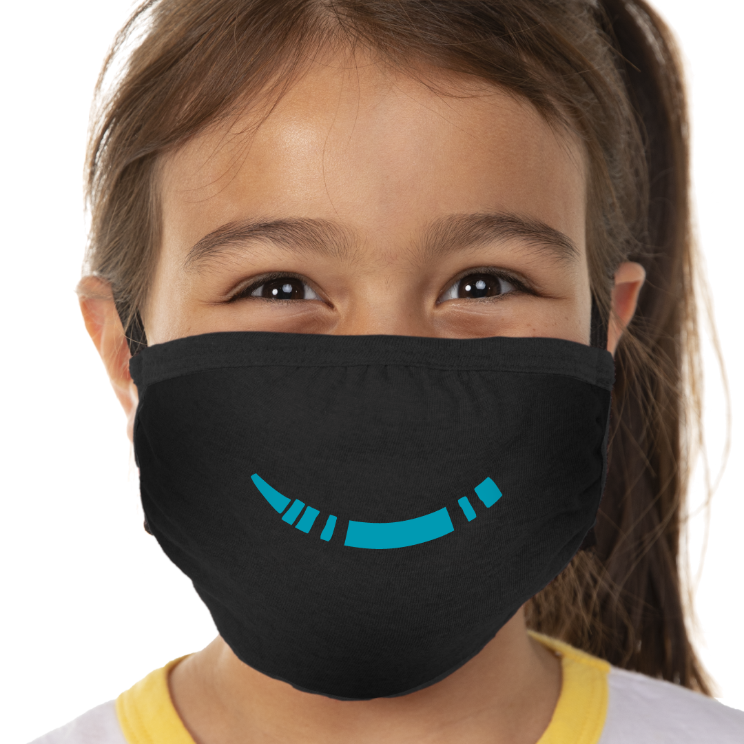 Blue Crayon Smile Face Mask - Cloth