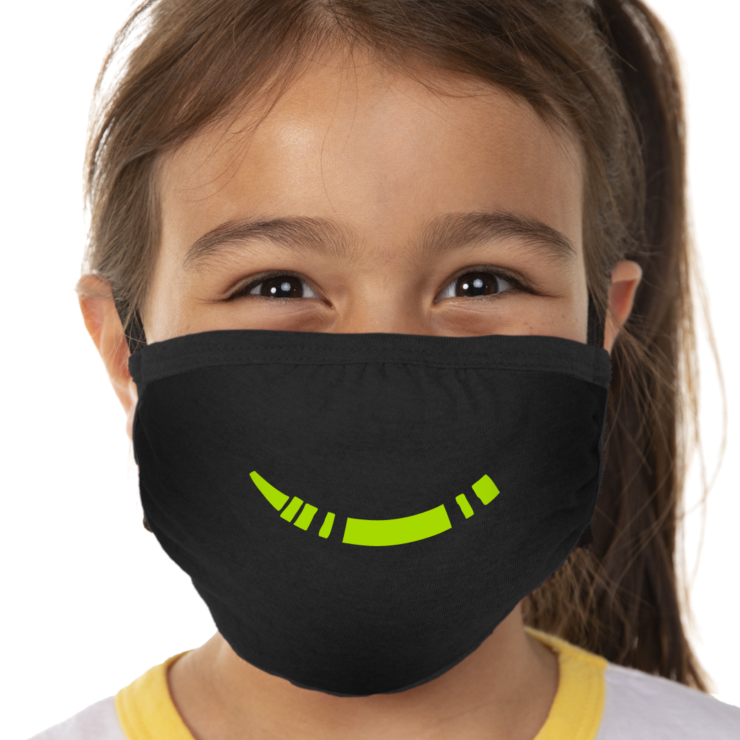 Green Crayon Smile Face Mask - Cloth