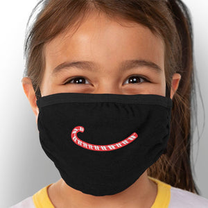 Candy Cane Smile - Kids Triple-Ply Mask Face Mask - Cloth