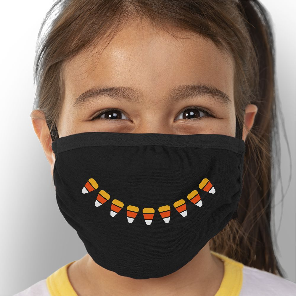 Candy Corn Smile - Kids Triple-Ply Mask Face Mask - Cloth