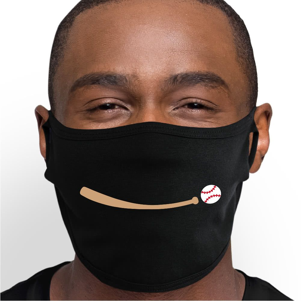 Baseball Smile Face Mask - Cloth