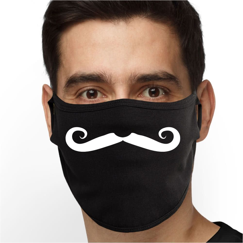 Hipster Mustache (White) Face Mask - Cloth