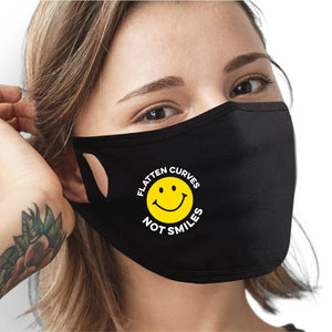 Flatten Curves Not Smiles Face Mask - Cloth
