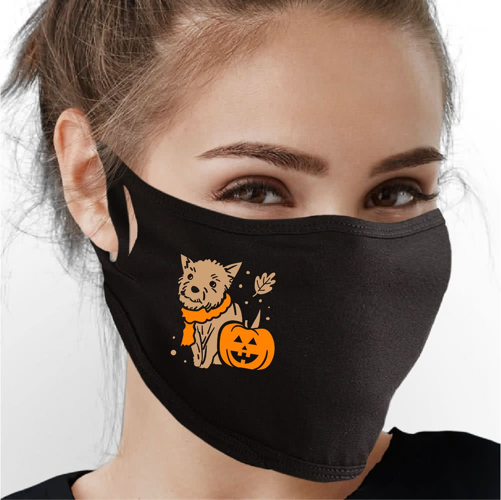 Fall Pup Face Mask - Cloth