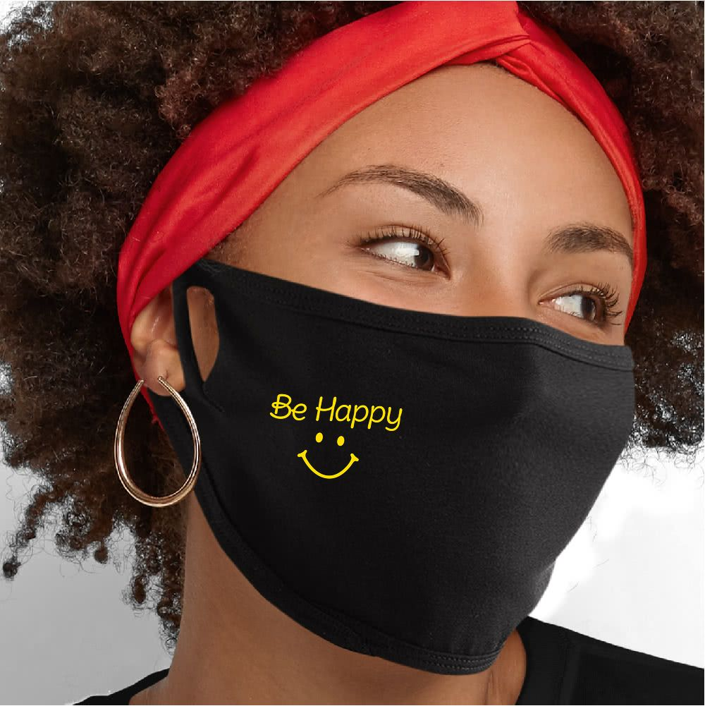 Be Happy (Script) Face Mask - Cloth