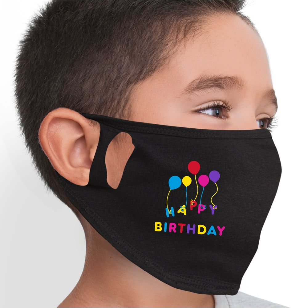 Happy Birthday Balloons Face Mask - Cloth