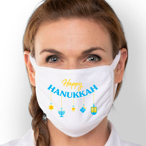 Happy Hanukkah - Triple-Ply Mask Face Mask - Cloth