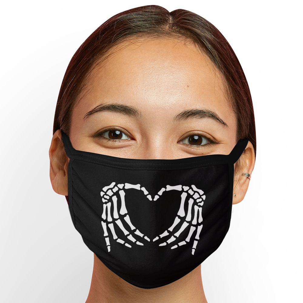 Skeleton Heart - Triple-Ply Mask Face Mask - Cloth
