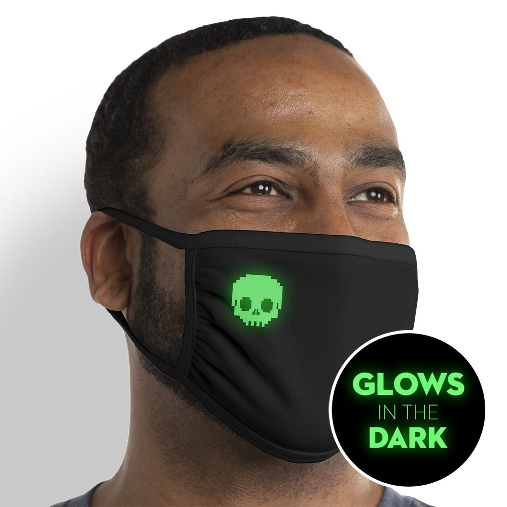Pixel Skull  - Glow In The Dark - Triple-Ply Mask Face Mask - Cloth
