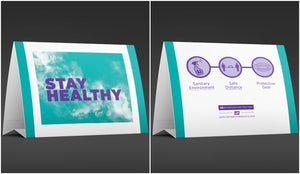 "Table Tent Cards - ""Stay Healthy"" - 7"" x 5"""