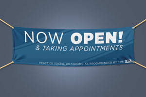 "Outdoor Banner - ""NOW OPEN & TAKING APPOINTMENTS"" - 72"" x 30"""