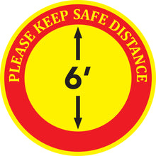 "Load image into Gallery viewer, Floor Decal - ""Please Keep Safe Distance"" - 12"" x 12"""