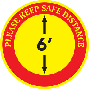 "Floor Decal - ""Please Keep Safe Distance"" - 12"" x 12"""