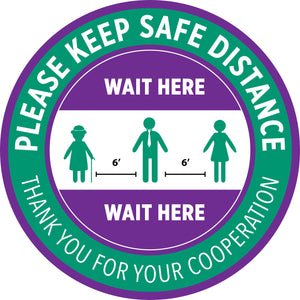 "Carpet Decal - ""Please Keep Safe Distance - Wait Here"" - 12"" x 12"""