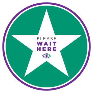 "Carpet Decal - ""Please Wait Here"" - 12"" x 12"""