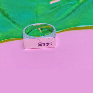 Angel Word Engraved Ring