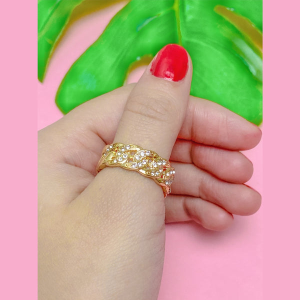 Rhinestone chain link ring