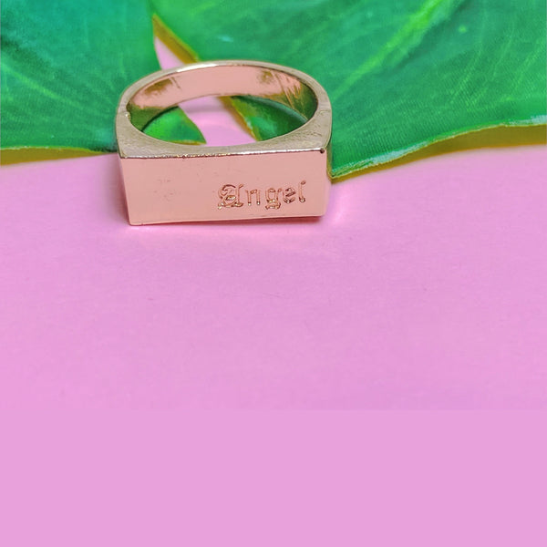 Engraved angel gold plated ring