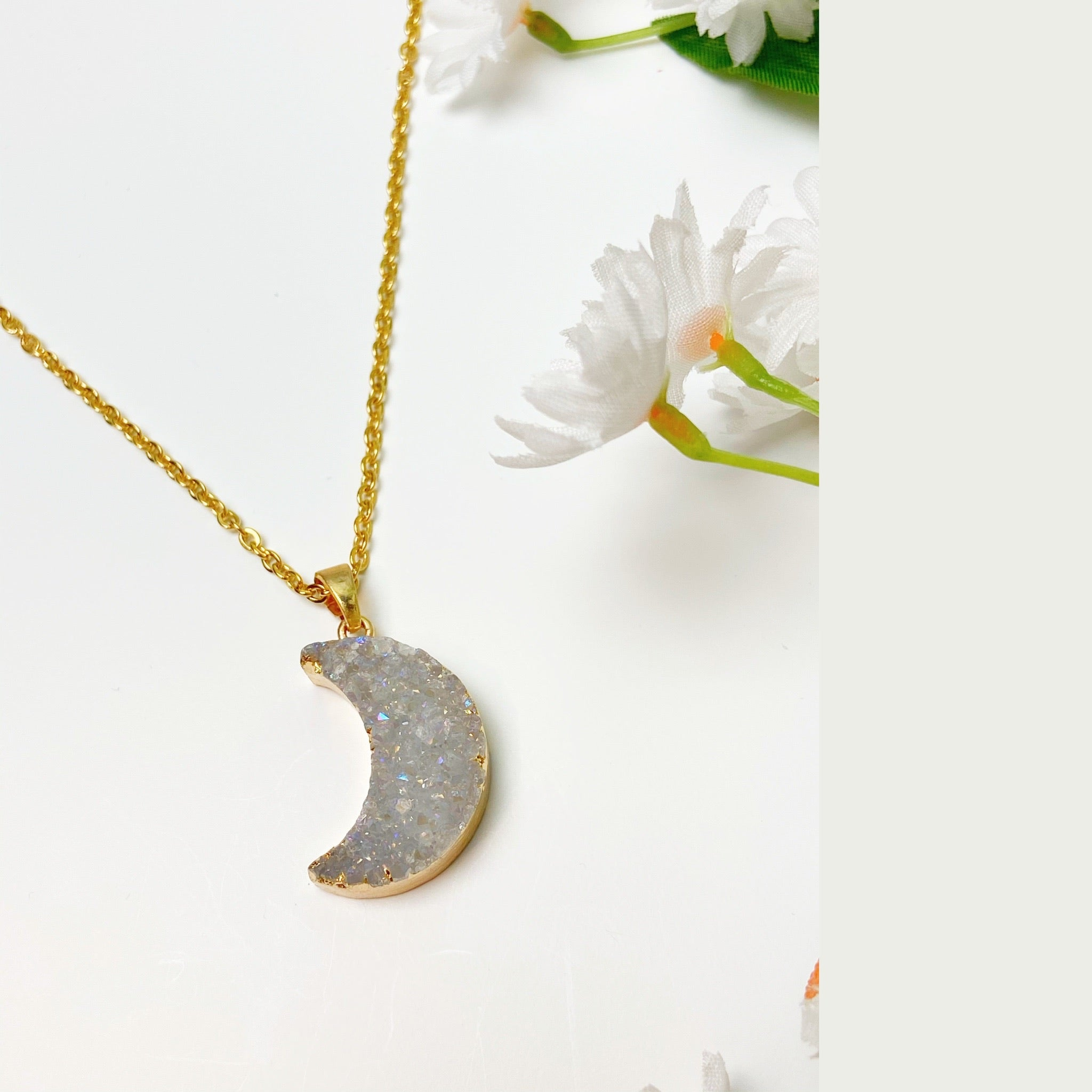 GOLD PLATED MOON-CHILD DRUZY NECKLACE