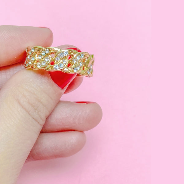 Cuban chain link rhinestone ring