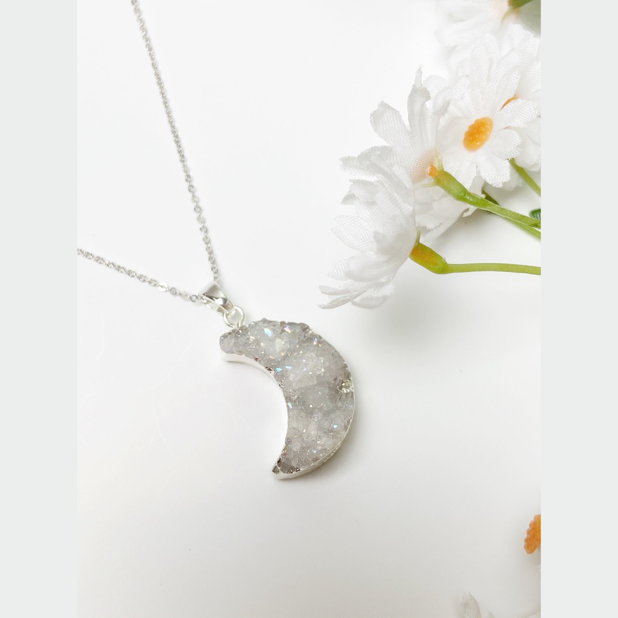 STERLING SILVER MOON-CHILD CRYSTAL NECKLACE