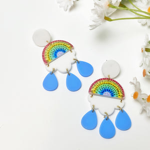 Rainbow After The Storm Resin Earrings