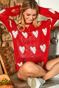 Liv Sweater Top - Red