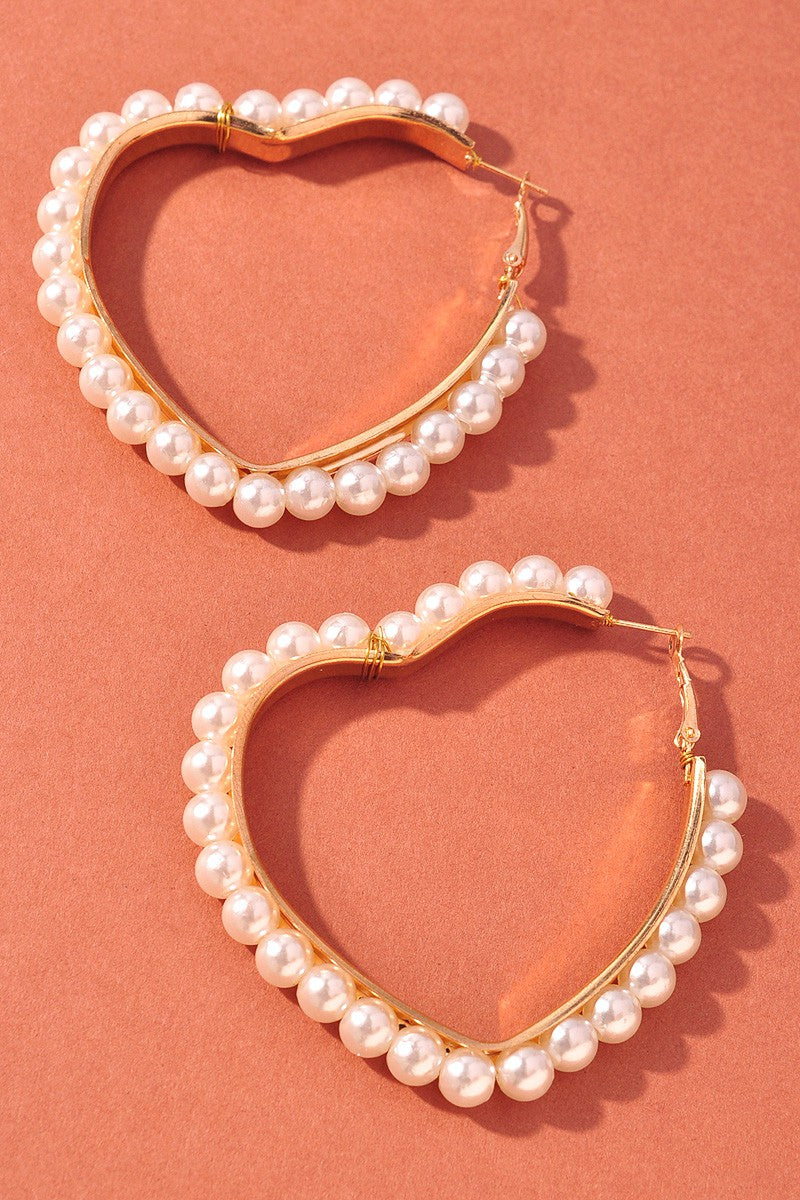 Heart Earrings - Pearl