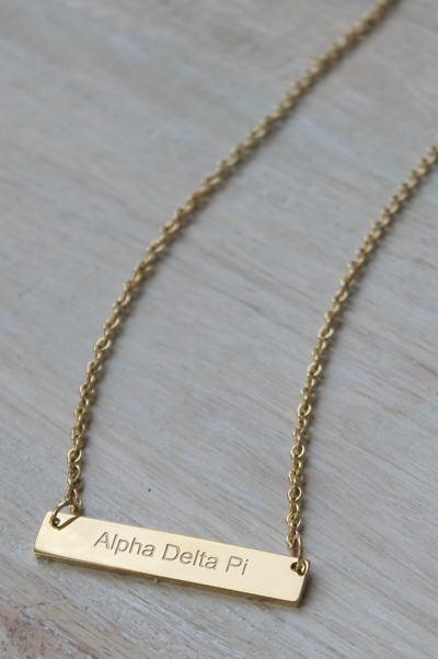 Alpha Delta Pi Bar Necklace