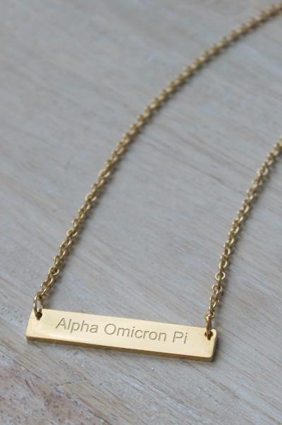 Alpha Omicron Pi Bar Necklace