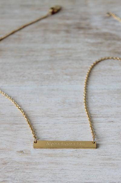 Alpha Sigma Tau Bar Necklace