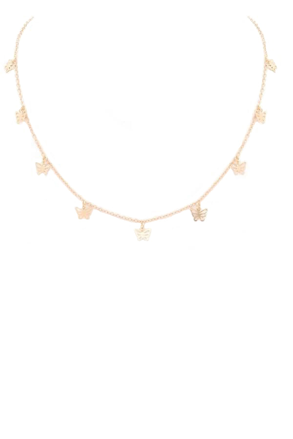 Butterfly Charm Necklace - Gold