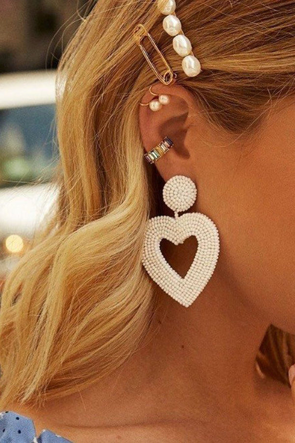 Heart Earrings - White