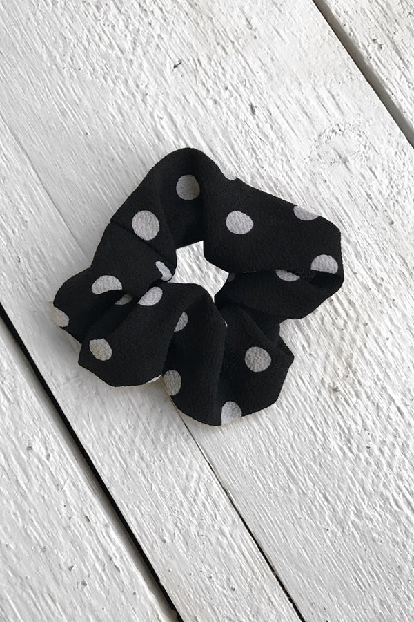 Polka Dot Scrunchie - Black