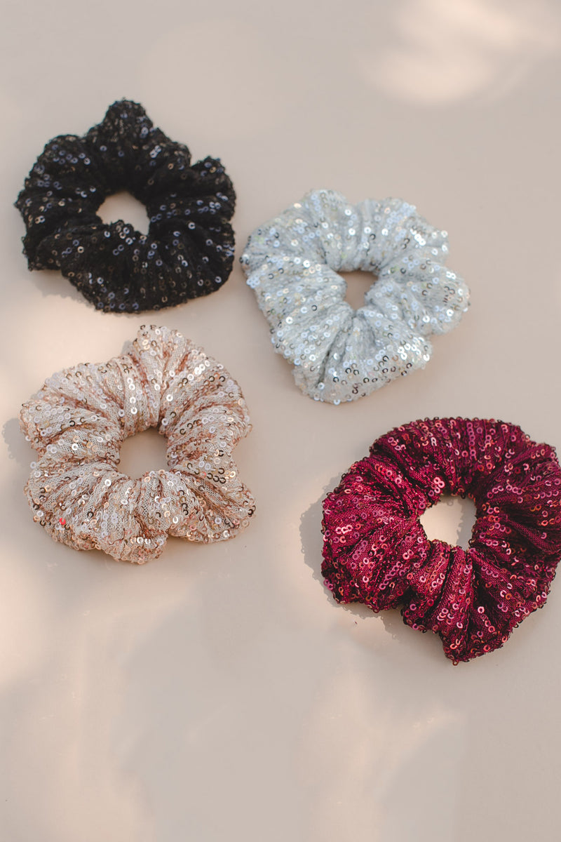 Sequin Scrunchie - Garnet
