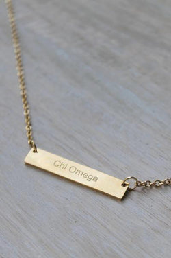Chi Omega Bar Necklace