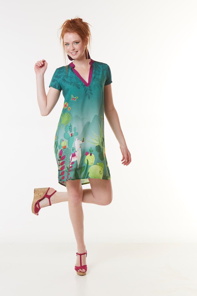 Robe voile viscose LINKARA CACTUS