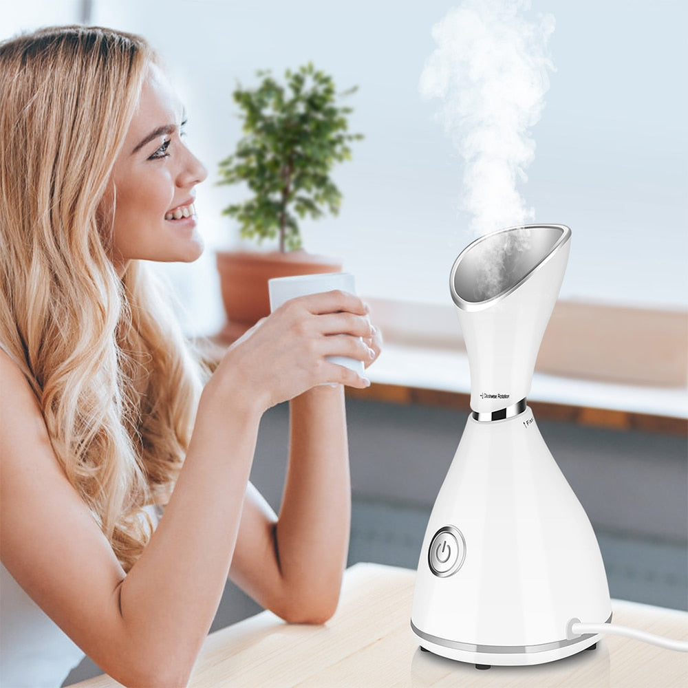 Nano Ionic Facial Steamer -Unclogs Pores - Removes Blackheads - Produces Collagen - Spa Quality