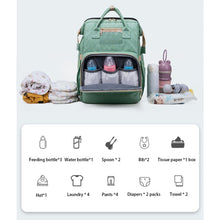 Load image into Gallery viewer, Convertable Mommy Backpack + Portable Baby Bed