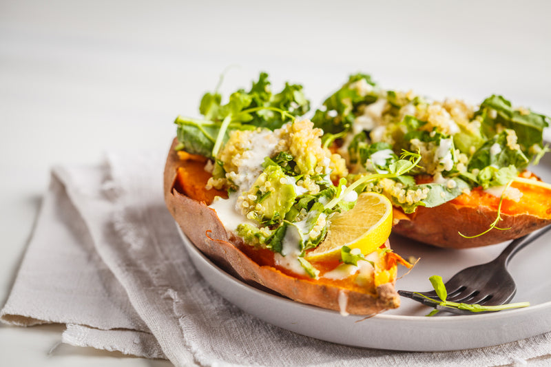 CHICKEN & EGG STUFFED SWEET POTATO
