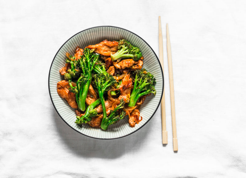 CHICKEN & BROCCOLI WITH SOY GINGER SAUCE