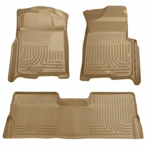 2008-2010 Ford Super Duty Crew Cab Floor Mats Tan Husky Liners WeatherBEATER