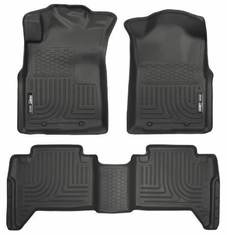 2005-2014 Toyota Tacoma Crew Cab Floor Mats Black Husky Liners WeatherBEATER