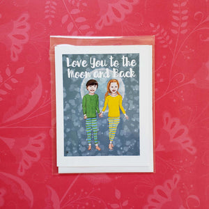 Love you to the moon and back Valentine's Day greeting card of boy and girl