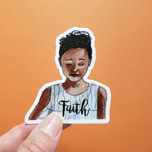 Faith Vinyl Art Sticker of brown girl