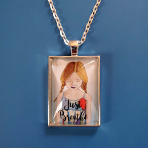 Just Breathe Pendant Necklace of blonde girl