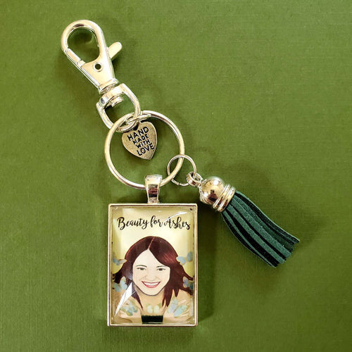 Beauty for Ashes Pendant Keychain of a beautiful woman
