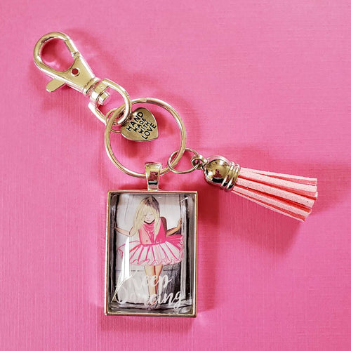 Keep Dancing Pendant Keychain with tassel of blonde girl