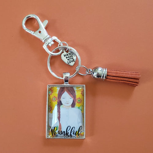 Thankful Pendant Keychain of a redhead girl sunflowers