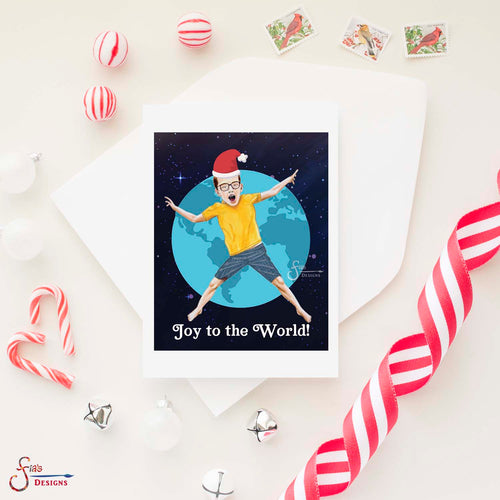 Joy to the World, Inspirational greeting card of boy in space